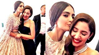 Sonam Kapoor KISSES Pakistani Actress Mahira Khan At Red Carpet Of Cannes Film Festival 2018 width=