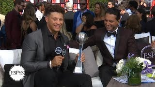Patrick Mahomes surprised with Best NFL Player award during red carpet interview   2019 ESPYS
