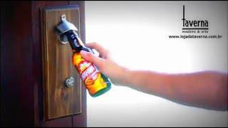 Abridor de garrafas magnético - madeira