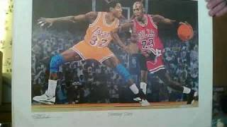 Michael Jordan and Magic Johnson Autographed Rick Rush Shooting Stars Lithograph Signed by Rush