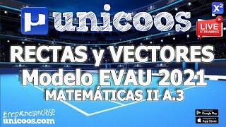 Imagen en miniatura para LIVE!!! Modelo EvAU 2021 - Matemáticas II 04 - Ejercicio A.3 - Rectas y vectores