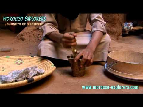 Morocco crushing rock salt in the traditional way – A Desert Village in the Sahara