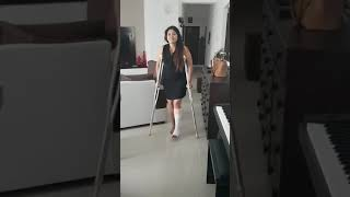 Broken ankle walk with crutches