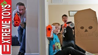 Home Alone Nerf Battle! Sneak Attack Squad Protects the House!