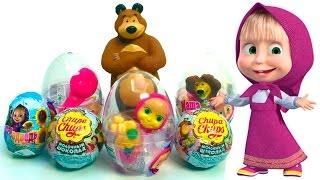 Masha and the bear surprise eggs huevos kinder sorpresa chupa chups toys juguetes
