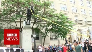 Confederate statue pulled down in North Carolina- BBC News