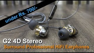 G2 4D Stereo Surround Professional HiFi Earphones review in Hindi - unboxing, features, coupon