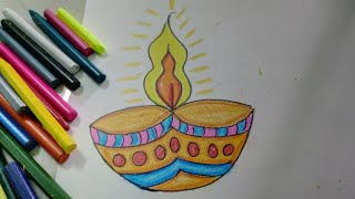 Easy And Colourful Diwali Diya Drawing For Kids | How To | CraftLas