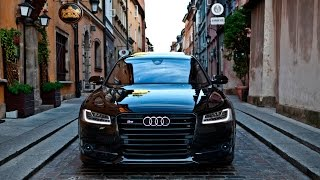 2017 Audi S8 Plus (605hp) black on black - details, launch control, interior, exterior