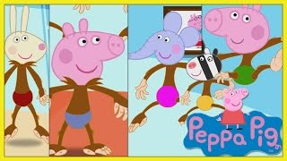 Peppa Pig Cinco macaquinhos pulando na cama em Português