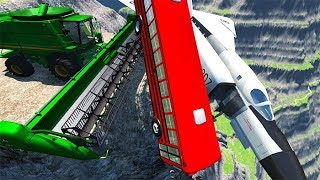 BeamNG drive - Can We Push An Airplane & School Bus From The Cliff With Cars
