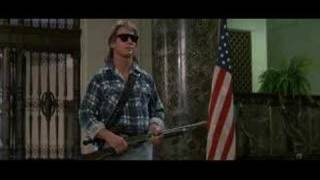 """I'm here to chew bubblegum..."" iconic scene from the They Live movie"