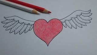 Como desenhar um coração com asas