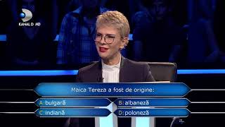 "Vrei sa fii milionar? (24.12.2018) - ""Maica Tereza a fost de origine..."" | Ce raspuns a dat"