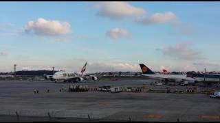 Voo inaugural do A380 da Emirates em Gru Airport