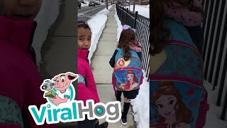 Dad Pranks Daughters on Snow Day || ViralHog