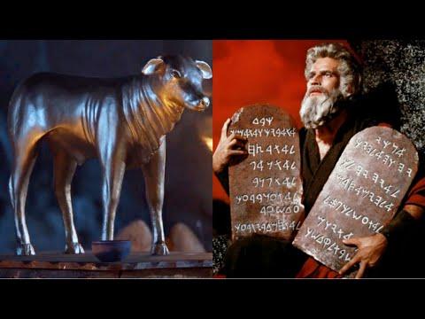 Arão faz um bezerro de ouro e Moisés quebra as Tábuas da Lei
