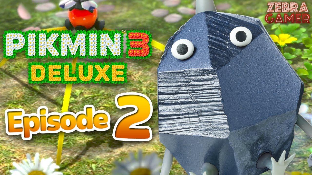 Zebra Gamer - Pikmin 3 Deluxe Gameplay Walkthrough Part 2 - Day 2! Rock Pikmin! Alph & Brittany!