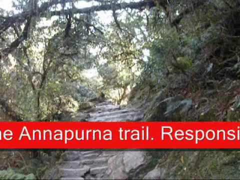 Cascading Waterfalls and streams on Annapurna trail