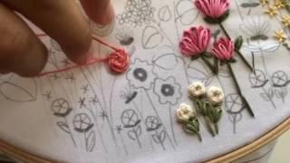 Stem Stitch Flower Rose Tutorial