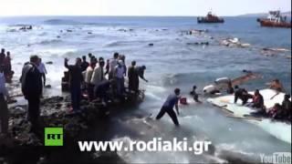 Primeras imágenes del naufragio de una barca con 200 refugiados sirios cerca de Grecia