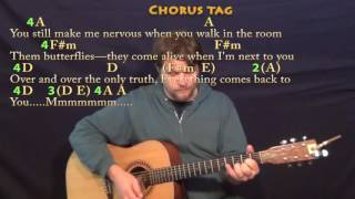 This Town (Niall Horan) Guitar Lesson Chord Chart in A with On-Screen Lyrics