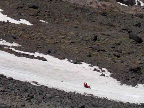 Snow Sliding on Mount Toubkal