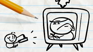 """Pencilmate Trapped in the Television! -in- """"TV Trauma"""" Pencilmation Cartoons"""