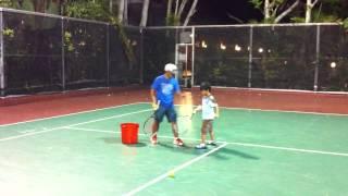 Nathan Sean in his 1st tennis clinic at Woodridge Maa