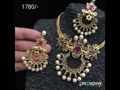 29d9283cc57 Download thumbnail for 1 gram gold necklace set with price and ...