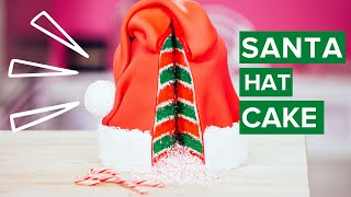 How To Make A SANTA HAT CAKE! Red & Green Vanilla Cake With White Chocolate Candy Cane BUTTERCREAM!