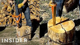 Tool Splits Wood More Safely Than An Ax