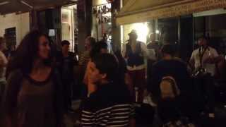 Evening in Porto, Portugal. Live Salsa Music in the Street.