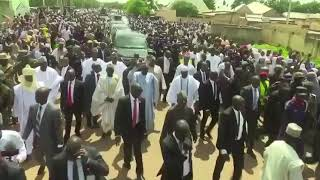 Wow! Buhari Walks Back To His House In Daura After Eid Prayer Today.