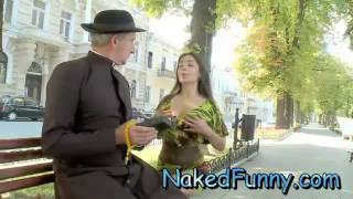 Girl make funny from her sweet sexy breast width=