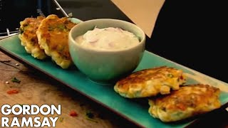 Sweetcorn Fritters and Yoghurt Dip - Gordon Ramsay