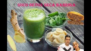 Receita de Como Fazer Detox Seca Barriga, Banana, Espinafre, Gengibre e Linhaça