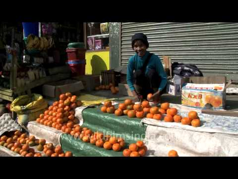 Woman selling oranges in Aizawl, Mizoram