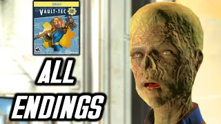Fallout 4 Vault Tec Workshop - ALL ENDINGS - Valery Leaves, and Become Overseer Endings