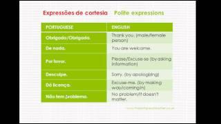 Polite Expressions in  Portuguese - Expressōes de cortesia em português