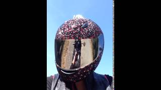 Blinged out helmet in the sun