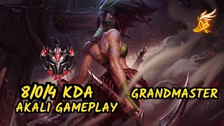 SKT T1 Faker (AKALI) - 8/0/4 KDA GAMEPLAY - KR Ranked GRANDMASTER