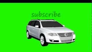 VW Passat 3C white driving various cams chroma key - greenscreen