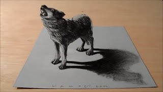 Art 3D Drawing Wolf, How to Draw Wolf, Artistic 3D Drawing