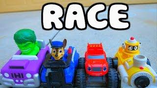 PAW PATROL Race Parody with Blaze and the Monster Machines, Yo Gabba Gabba & Hulk