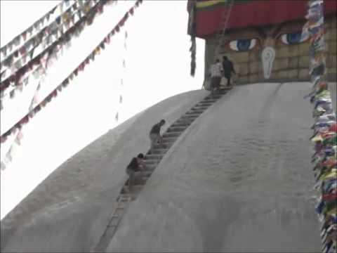 Kathmandu, Nepal – pintura – Grande Stupa de Boudhanath