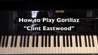 """How to Play Gorillaz """"Clint Eastwood"""" Quick Easy Piano Keyboard Tutorial"""
