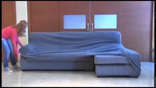 como poner la funda elastica chaise longue