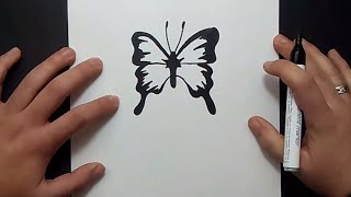 Como dibujar una mariposa paso a paso 11   How to draw a butterfly 11