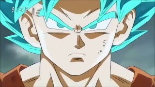 Goku turns Super Saiyan God blue (DBZ Theme)
